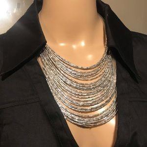 Silver Layered Beaded Necklace & Earrings Set